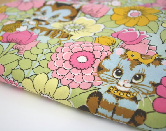 Cat Fabric Cotton Alexander Henry Quilting 1 yard Smitten Kitten 2006