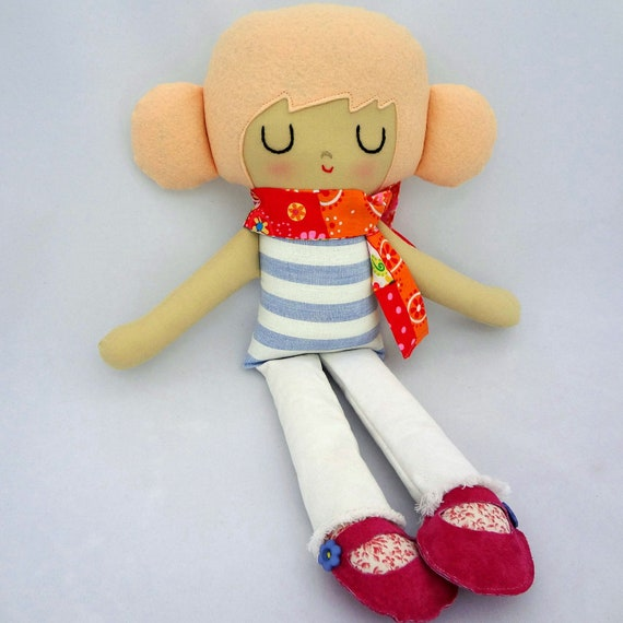 Kylie cloth doll rag doll one of a kind doll strawberry blonde stripes girl gift eco friendly