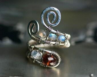 "Garnet Ring Sterling Silver Gemstone Wirework Blue Flash Labradorite Moonstone Deep Red January Birthstone - ""Sanguine Nights"""