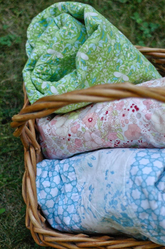 Baby Quilt in Green and Blue with Scalloped Edges, Ready to Ship