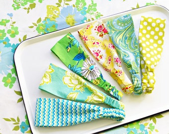 Wide Headbands Set of 3: Aqua Lime Yellow- Vintage Inspired Florals- Choose from 42 Patterns- Ready to Ship