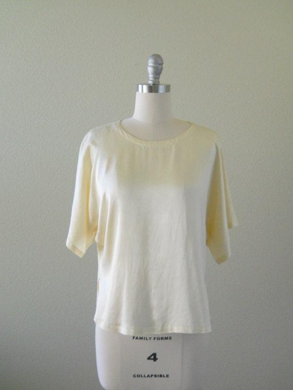 Vintage 1980s Blouse -- Ivory Silk Blouse