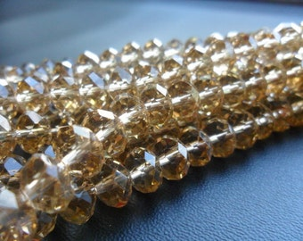 Tiaria Crystal Dark Tan Faceted Rondells Beads 8 x 5mm