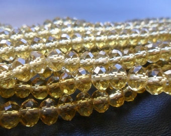 Golden Faceted Crystal Rondelle Beads 6x4mm