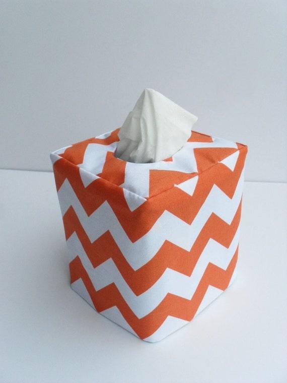 Orange chevron reversible tissue box cover