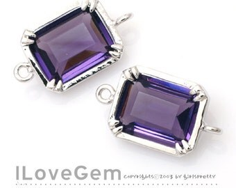 B065 Rhodium plated, Amethyst, Glass, Baguette, Connectors, 2pcs