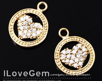 NP-1323 Gold plated, Heart, CZ, pendant, 1pc
