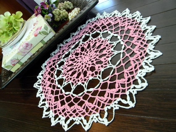 Large Doily - Vintage Pink Hand Crocheted Centerpiece 7940 Black Friday / Cyber Monday