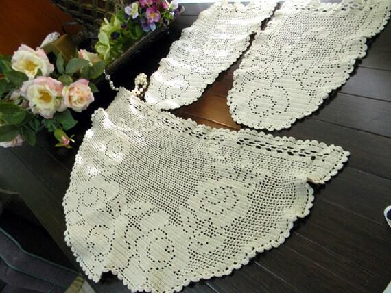 Filet Crochet Armchair Doilies In Medium Ecru By Vintagekeepsakes