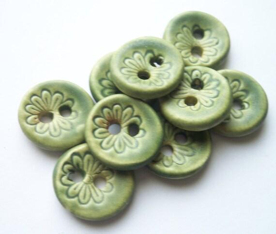 Lichen Green Flower Buttons