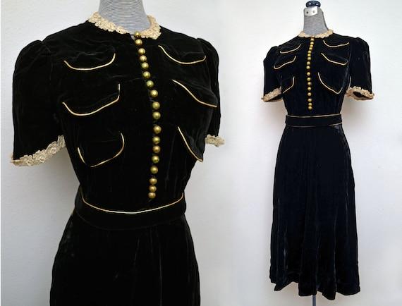 Vintage 30s Black Velvet Dress Gold Trim Brass Buttons Matching Belt