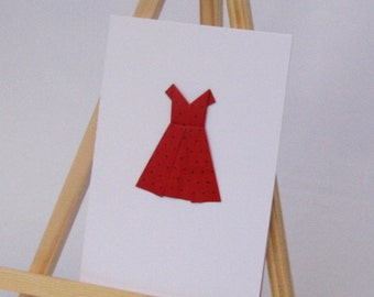 Origami Card - Party Dress - Blank C6 Size