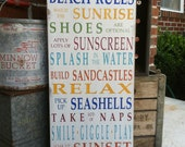 Beach Rules Vintage Style Typography Word Art Sign in Rainbow Colors