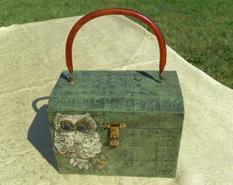 Awesome Vintage 1960s 1970s Handmade Wooden Box Ladies Purse