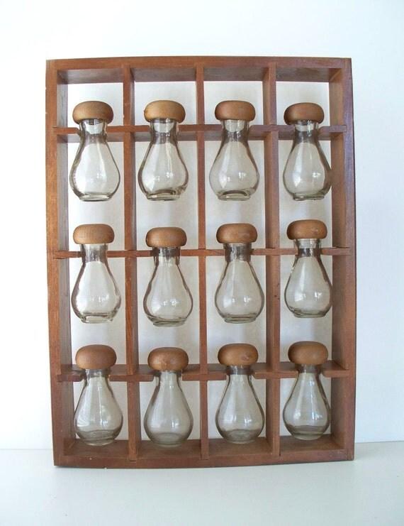 Mid Century Spice Rack and Jars