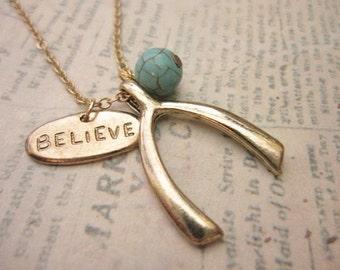 Wish Necklace, Believe Necklace, Bridesmaid Gift, Best Friend Gift