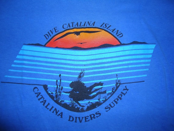 vintage tee CATALINA ISLAND T Shirt Dive Scuba Diving Medium
