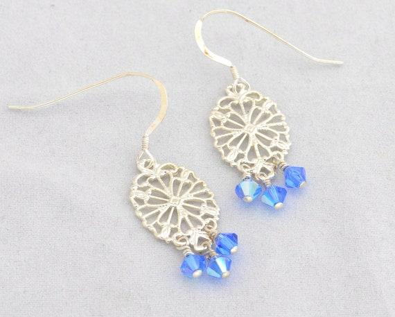 Elegant Filigree and Sapphire swarovski chandelier earrings