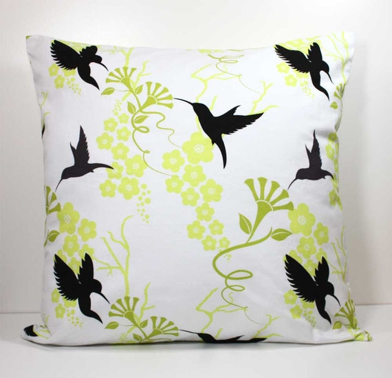 Decorative Throw Pillow Cover 18 x 18 Inch - Black and Dark Gray Hummingbirds and Green Flowers on White- Invisible Zipper Closure