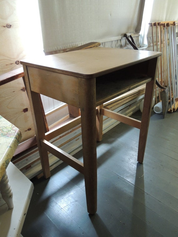 RESERVED Vintage school desk and matching chair, metal and wood