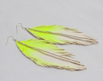 NEON YELLOW Leather Feather Earrings. White Handpainted. Glows under black light.