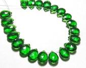 20 Pair 0f Earring 7x10 mm - Gorgeous Emerald Green  Colour - QUARTZ Faceted Pear Briolett super sparkle total 40 pcs