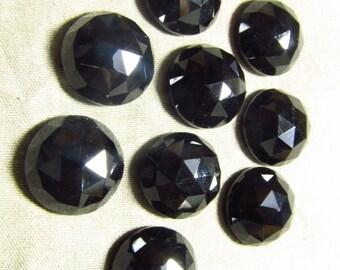 12 MM Rose Cut Round Cabochon -  BLACK ONYX - Super Sparkle 5 pcs