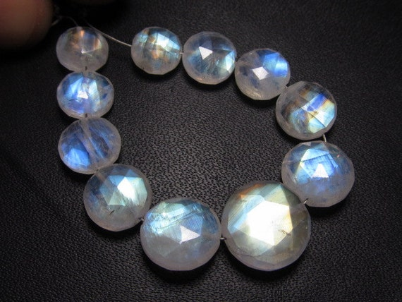 AAAA - High Quality Rainbow Moonstone Gorgeous - Rainbow Flashy Fire - Faceted Coin Briolett Super Sparkle Huge Size - 8 - 12 mm - 11pcs