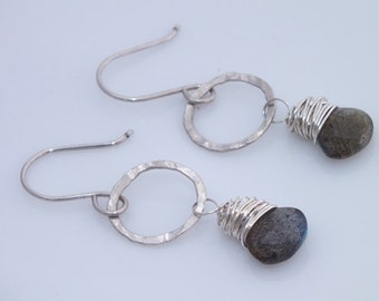 Labradorite Circle Earrings, Labradorite Earrings, Labradorite Silver Earrings, Labradorite Jewelry