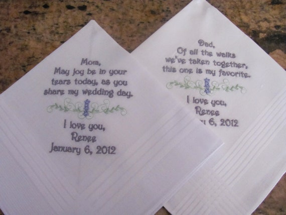Personalized Father and Mother of the Bride machine embroidered wedding handkerchief by Simply Sweet Hankies