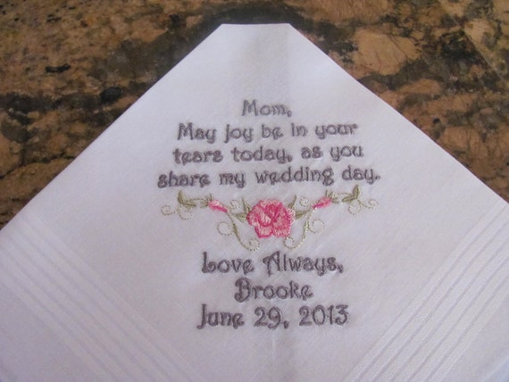Personalized Mother of the Bride machine embroidered wedding handkerchief by Simply Sweet Hankies