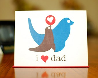 I Heart Dad New Baby Card with Papa & Baby Seals (100% Recycled Paper)