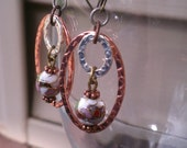 Pink rose cloisonne beads with silver and rose gold hammered oval earrings