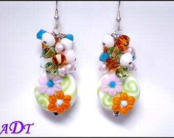 Sunshine Garden Floral Lampwork Earrings in Orange, Lime,Turquoise and Pink