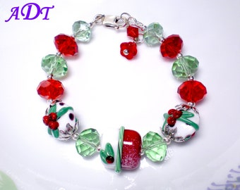 Christmas Lampwork Bracelet in Red and Green , Berry Bliss Lampwork Bracelet,Holiday Bracelet