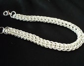 Clearance! Hand Made Solid Sterling Silver Persian Weave Chainmaille Bracelet