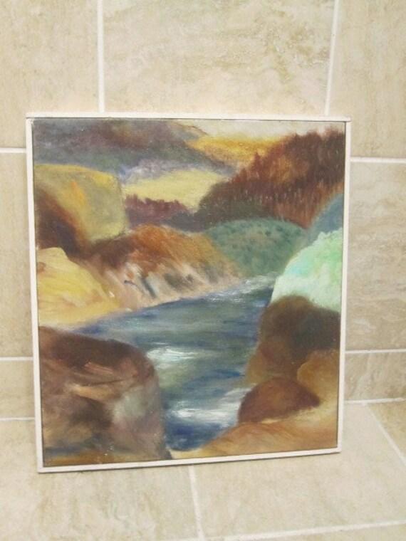 Mid Century Modern Landscape Original Signed Oil on Canvas