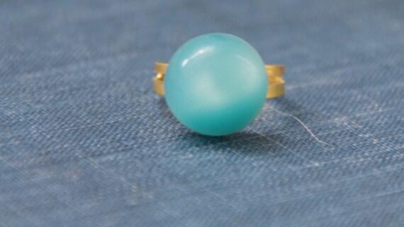 Antique Button Ring (blue globe)