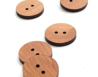 "Wood Buttons - Black Cherry Circle Buttons - 1.25"" - Set of 15 - Laser Cut from Solid Wisconsin Wood -Timber Green Woods - Made in USA"