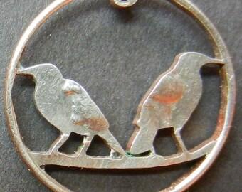 Birds Hand Cut Coin Jewelry