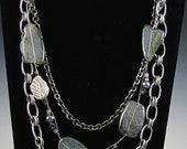 Chunky Chain and Agate Slice Necklace