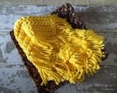 Newborn Yellow Chunky baby blanket crochet photo prop bucket bowl basket