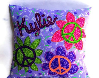 Peace Sign Cushion - 16 x 16 Personalized Throw Accent Pillow, Custom Made to Match Any Decor, You Choose the Colors - One Square Pillow