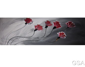 1 ABSTRACT CANVAS PAINTING  grey red poppies