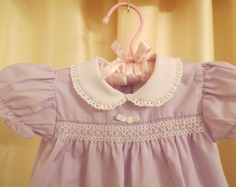 Vintage Baby Girl White and Lilac Lavender Purple Jumpsuit Dress