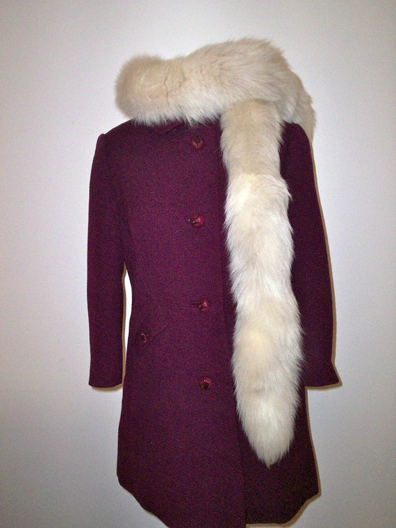 Vintage Rare 1940s White Fox Tail Ivory Scarf Genuine Fur