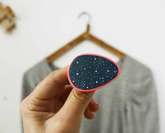 Starry night brooch - Hand shaped  paper clay jewellery - Stocking stuffer