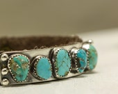 Reserved for B. -Final Payment  Southwest Turquoise Leather Cuff Bracelet