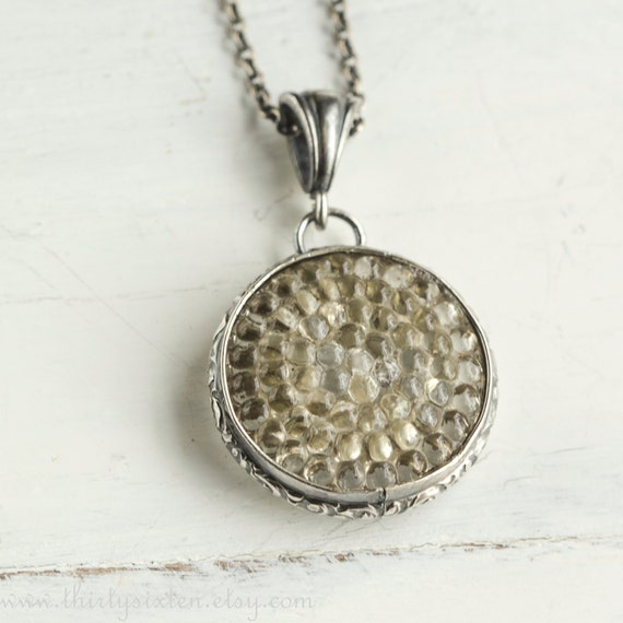 Vintage Button Necklace, Glass, Sterling Silver