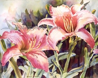 Lilies, ACEO or 5 x 7 Note Card, watercolor print, flower, 672 Florida Hot Lillies, lily coral, orange